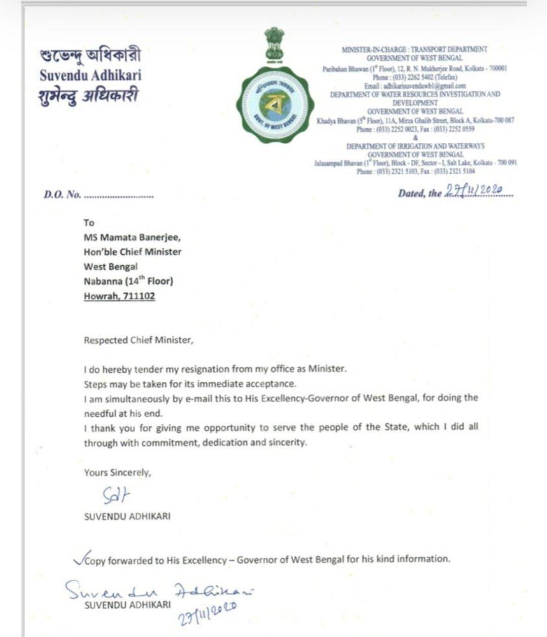 Suvendu Adhikari Resignation