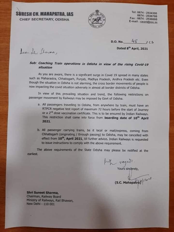 Chief Secretary Writes Railway Board Chairman To Cancel All Train To Odisha From Chhatishgarh