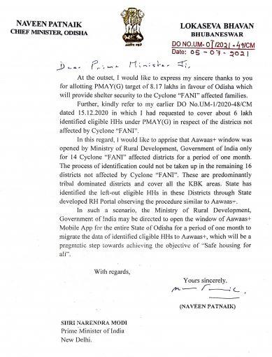 CM Naveen Writes PM Modi On Awas Plus