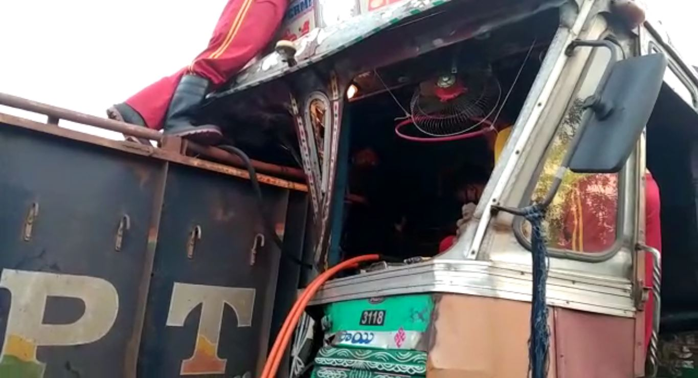 Truck Accident In NH 16 Near Balugaon, Driver Injured